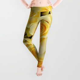 soft yellow roses close up Leggings