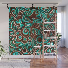 Jack Turquoise/Brown Wall Mural
