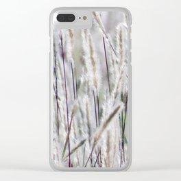 Silver hair grass Clear iPhone Case