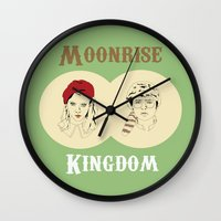 moonrise kingdom Wall Clocks featuring Moonrise Kingdom  by Sheena White for Winsome Gallery