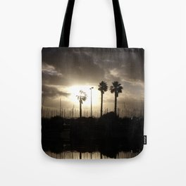 Palm trees & boats Tote Bag