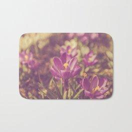 Flowers Crocuses Violet Close-up Spring Matte Bath Mat