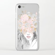 She Wore Flowers in Her Hair Rose Gold Clear iPhone Case