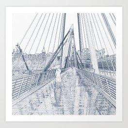 London Rain Embankment Bridge Art Print