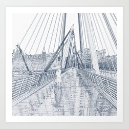 London Rain Embankment Bridge Art Print