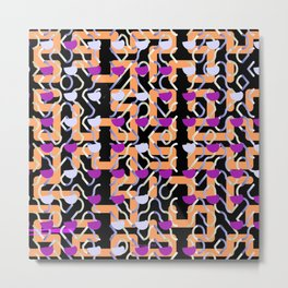 Magenta Dollops Orange Grid Pattern Metal Print