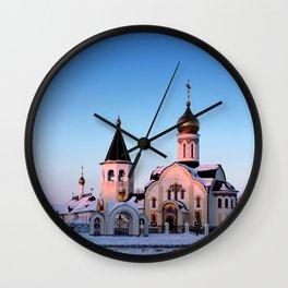 Russian Orthodox church in winter Wall Clock