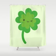 Kawaii Lucky Four Leaf Clover Shower Curtain