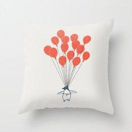Penguin Balloons Throw Pillow