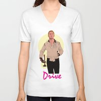 ryan gosling V-neck T-shirts featuring Drive - Ryan Gosling by Just Jolt