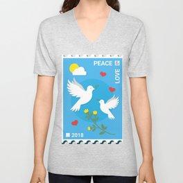 Peace And Love Holiday Invitation Unisex V-Neck
