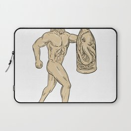 Hercules With Bottled Up Angry Octopus Drawing Laptop Sleeve