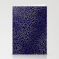 navy Stationery Cards featuring Gold Berry Branches on Navy by Cat Coquillette