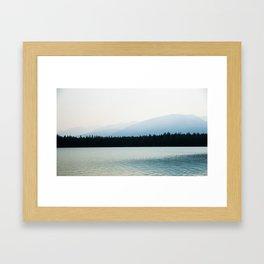 Misty Mountains - Lake Annette in Jasper, Canada Framed Art Print