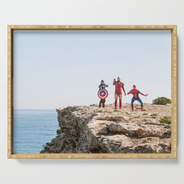 Real Superheroes On A Rock |  Comic Poster Movie Photography Serving Tray
