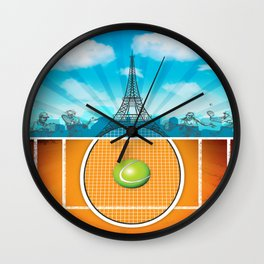 Paris Tennis Wall Clock