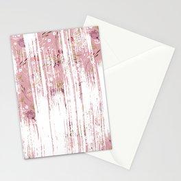 Vintage chic pink white red boho floral brushstroke pattern Stationery Cards