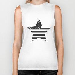 American Flag Stars and Stripes Black White Biker Tank