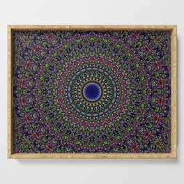 Colorful Sacred Kaleidoscope Mandala Serving Tray