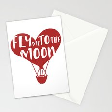 FLY ME TO THE MOON - Love Valentines Day Quote Stationery Cards