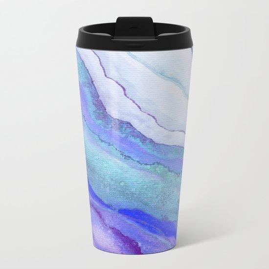 AGATE Inspired Watercolor Abstract 07 Metal Travel Mug