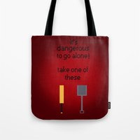 shaun of the dead Tote Bags featuring Shaun of the dead - It's dangerous to go alone! by tukylampkin