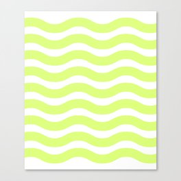 Lime Green Abstract Wavy Lines Pattern Canvas Print