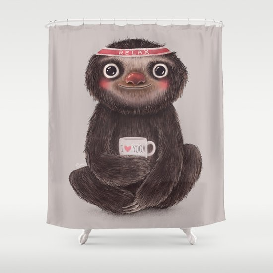 Sloth I♥yoga Shower Curtain