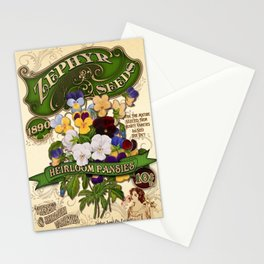 Old Fashioned Pansies Seed Packet Template Stationery Cards