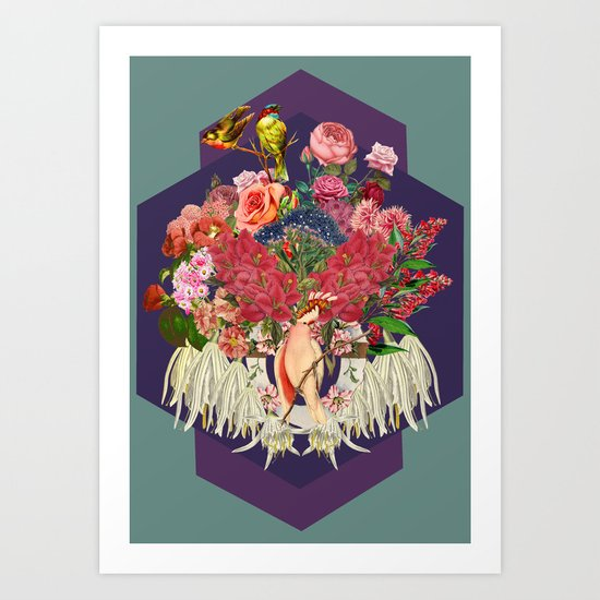 Floral and Parrot Art Print