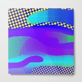Blue Yellow PurpleHalftone Sea Metal Print