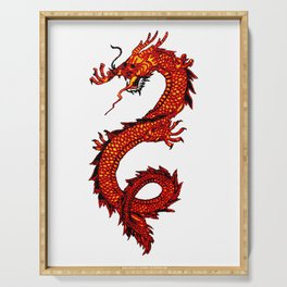 Mythical Red Dragon Serving Tray