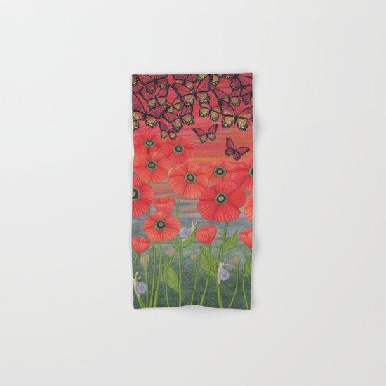 red sky, butterflies, poppies, & snails Hand & Bath Towel