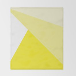Simple Geometric Triangle Pattern - White on Yellow - Mix & Match with Simplicity of life Throw Blanket