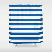 preppy Shower Curtains featuring Preppy Navy & White Stripe by Sweet Karalina