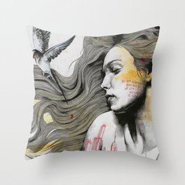 Monument (long hair girl with bird and skyline tattoo) Throw Pillow