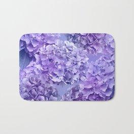 Painterly purple blue hydrangea flowers Bath Mat