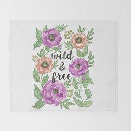 Wild & Free Watercolor Illustration Throw Blanket