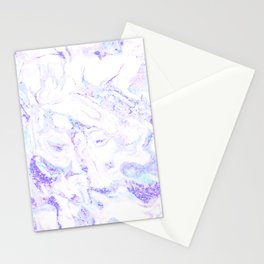Pastel Marble Purple Blue Glitter Stationery Cards