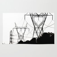 gemma correll Area & Throw Rugs featuring I heart your electricity. by Gx2 (Gemma Gilleard)