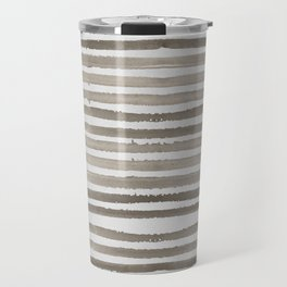 Simply Shibori Stripes Earth Brown on Lunar Gray Travel Mug