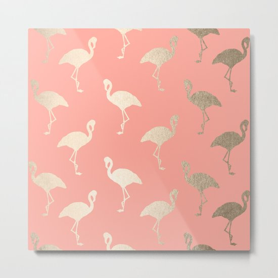 Gold Flamingo Pattern Coral Pink Metal Print