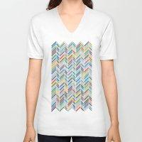 herringbone V-neck T-shirts featuring Herringbone Colour by Project M