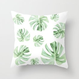 Tropical green leaves on white Throw Pillow