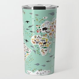 Cartoon animal world map for children and kids, back to school. Animals from all over the world Travel Mug