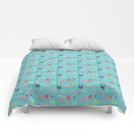 Colorful bunnies on blue background Comforters
