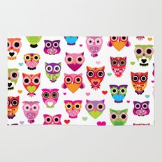 Cute colorful retro style owl illustration pattern Rug