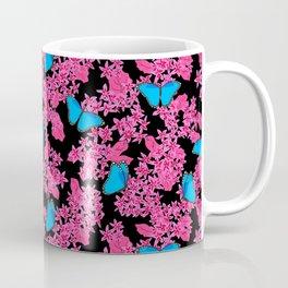 Blue Morpho Butterflies Hot Pink Floral Coffee Mug