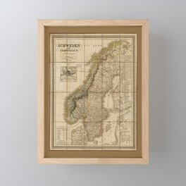 Map of Sweden and Norway (1847) Framed Mini Art Print
