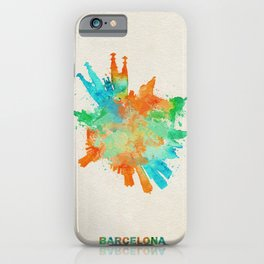 Barcelona, Spain Colorful Skyround / Skyline Watercolor Painting iPhone Case